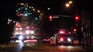 Toronto Canada March 2016 4K UHD Fire Truck Crossing