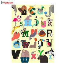 English Alphabet Cartoon Picture Full Square Diamond Embroidery Handmade 5D Needlework Teaching Children Room Decor