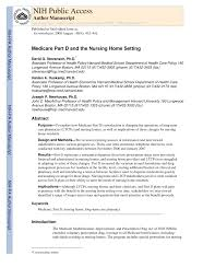 Medicare Part D and the Nursing Home Setting PDF Download Available