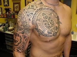 Stylish Tribal Tattoo On Chest
