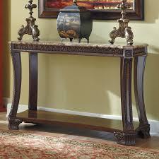 Traditional Dark Brown Norcastle Sofa Table by Signature Design By Ashley Ledelle Rectangular Dark Cherry Sofa