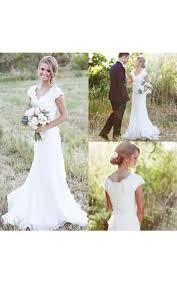 Cap Sleeve V Neck Sheath Chiffon Dress With Lace Bodice And Sash