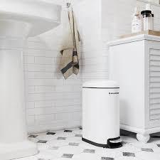 mülleimer kosmetikeimer aus stahl 10 liter schmaler treteimer mit inneneimer fürs badezimmer softclose abfalleimer für die nische weiß ltb10wt