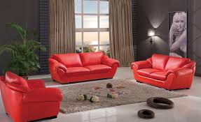 Red Black And Brown Living Room Ideas by Red Leather Sofa Plus Gray Fur Rug On The White Floor Combined