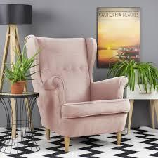 selsey sessel mallmon ohrensessel mit wasserabweisendem stoffbezug in rosa und hellen holzbeinen