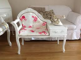 Shabby Chic Dining Room Chair Cushions by Telephone Table Painted Shabby Chic French Style But With Toile
