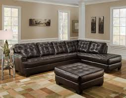 Brown Couch Living Room Wall Colors by Dark Brown Leather Tufted Sectional Chaise Lounge Sofa With