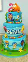 Bubble Guppies Cake Decorating Kit by This Three Tiered Bubble Guppies Cake With Mr Grouper On Top Is