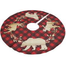 Rustic Woodland Animals Buffalo Check Brushed Polyester Tree Skirt