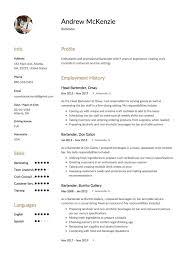 resume bartender bottle service cocktail waitress resume skills
