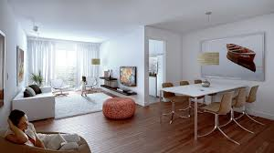 Wonderful Living And Dining Space In One White Combined
