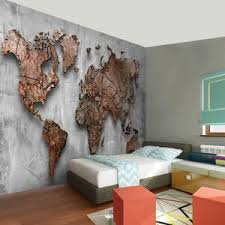 weltkarte vlies foto wandtapete dekoration grau braun runa 9087ap