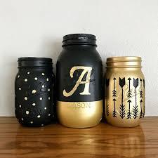 Black And Gold Mason Jar Set With Monogram