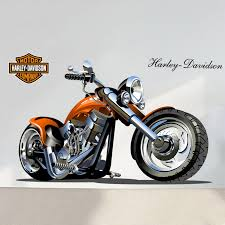 Home Decor Amazing 3d Harley Motorcycle Wall Stickers Removable Pictures For Living Room Kids Car In From