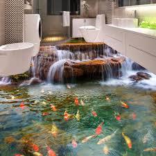 großhandel benutzerdefinierte 3d boden tapete wasserfall karpfen badezimmerboden wandbild malereien 3d pvc selbstklebende wandaufkleber tapete