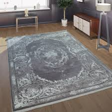 wohnzimmer teppich barock design mit klassischen vintage muster in grau