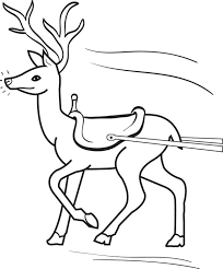 Christmas Coloring Page Of A Reindeer Pulling Sled