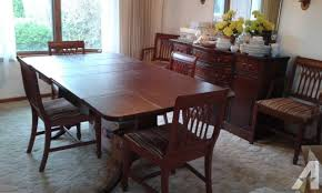 Antique Dining Room Table Chairs Set Side Buffet
