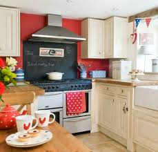 Astounding Red Kitchen Wall With White Cabinet