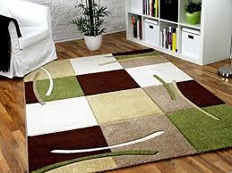 designer teppich braun beige grün karo in 5 größen