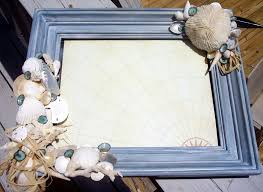 Antiqued Blue Beach Frame With Mushroom Coral Limpet Shells