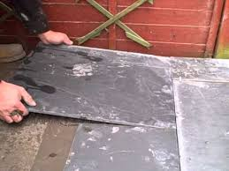 laying slate on a solid concrete base using adhesive
