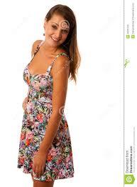 beautiful in flower patern short summer dress posing against