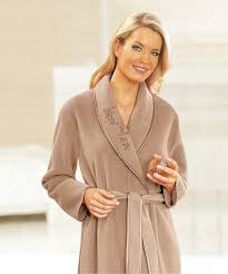 robe de chambre en robe de chambre en molleton polaire 130 cm vison femme damart