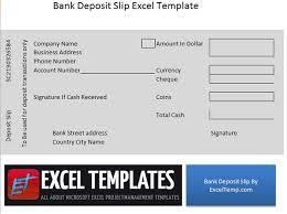Bank Deposit slip Excel Temp Pinterest