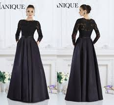 janique 2017 black formal gown a line jewel long sleeve lace