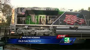 """Salute To Military"""" Train Stops In Sacramento - YouTube Sacramento Portable Storage Units Moving Containers Tesla Semi Trucks Spotted Supercharging Near On Their Eagle Towing In Ca Youtube American Truck Simulator Transporting Frozen Vegetables From Custom Accsories Reno Carson City Folsom Commercial Drivers Learning Center Ca Hail Snow Storm 02262018"""