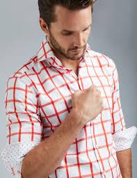 men u0027s curtis white and orange large check slim fit shirt high