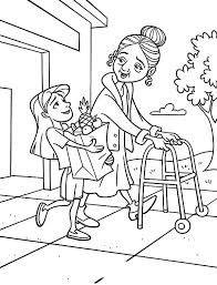 Kindness Is Helping Old People To Carry Their Bag Colouring Page Coloring