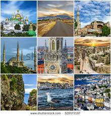 Travel Collage European Landmarks Portugal Madeira Istanbul Turkey Cappadocia