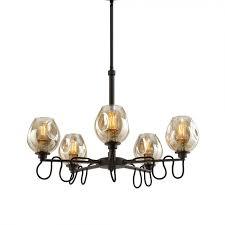 100 Fritz 5 Uttermost 21312 Light Glass Chandelier In Gold
