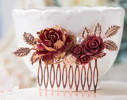 Rose Gold Comb Burgundy Wedding Hair Accessory Maroon Bridal Dark Red