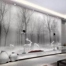 großhandel benutzerdefinierte 3d wallpaper nordischen wald elch abstrakt wald schwarz und weiß landschaft wandverkleidung schlafzimmer wohnzimmer sofa