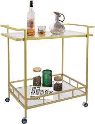 umi by servierwagen mit 2 glasregalen barwagen küchenwage rollwagenmit rollen für club wohnzimmer 76x43x80cm gold