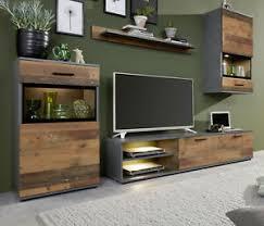 details zu wohnwand schrankwand in used wood grau wohnzimmer anbauwand vintage shabby mango