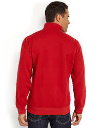 izod embroidered logo quarter zip sweater in red for men lyst