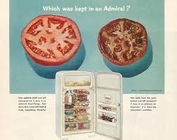 1952 Advertisement Admiral Dual Temp Refridgerator 50s Kitchen Tomatoes Housewife Appliances Fridge Freezer Wall Art