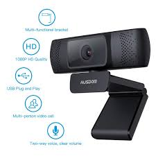 Ausdom Full HD 1080P Webcam For OBS Live Video Calling And Recording Web Camera With Builtin Noise Reduction Microphone PC Or Laptop Camera For