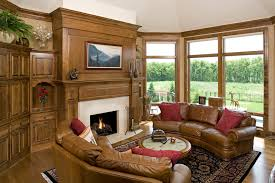 Camel Leather Sofa Family Room Traditional With Gas Fireplace Alder Cabinetry