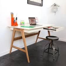 bureau gris laqué bureau laqué chêne blanc 120x70cm skoll look scandinave