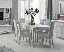 esstisch mit 6 stühlen in weiss klassisch