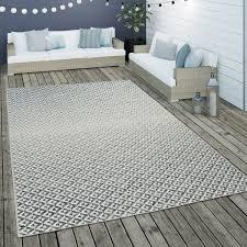 outdoor flachgewebe teppich skandi rauten design grau