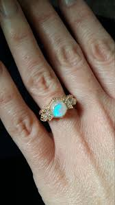 Antique Diamond Opal Engagement Ring Yellow Gold 1920s Gemstone Rustic Bohemian PenelliBelle Exclusive The Florence