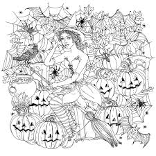 Incredible Fashion Woman Dressed Like A Witch Crows Spiders Pumpkins And Other Decorations On