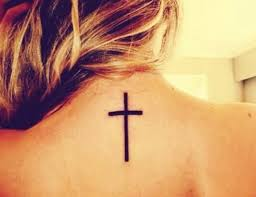 Simple Black Cross Tattoo On Girl Back Neck