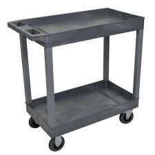 2 Tub Shelf Plastic Utility Cart With